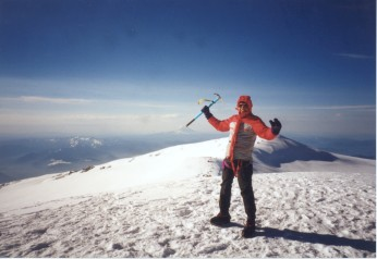 On summit of Mt. Rainier, 4410m