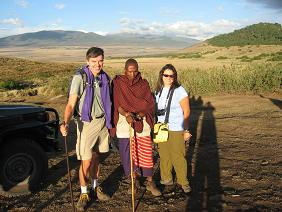 Jill and Thomas with Maasai Guide at Ngorongoro