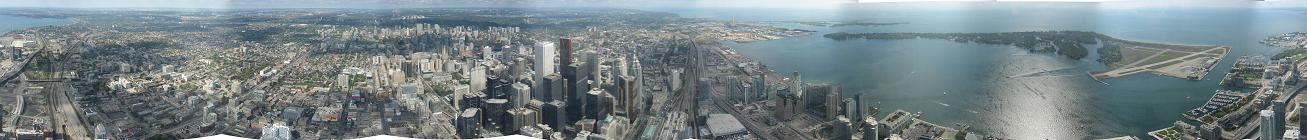 360 panorama from highest tower in the world: CN Tower in Toronto.