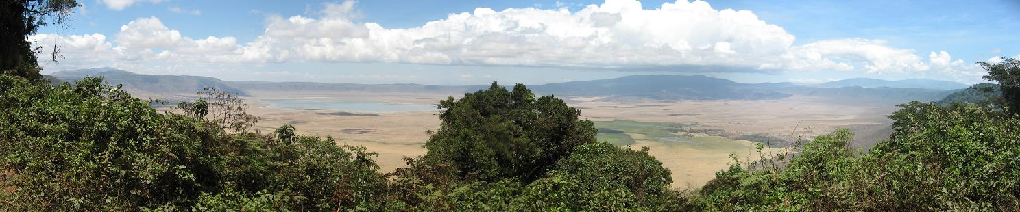 View from rim of famous Ngorongoro Crater