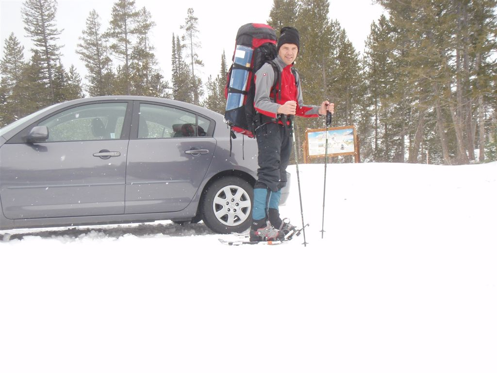 Setting off into Targhee National Forest with winter camping gear
