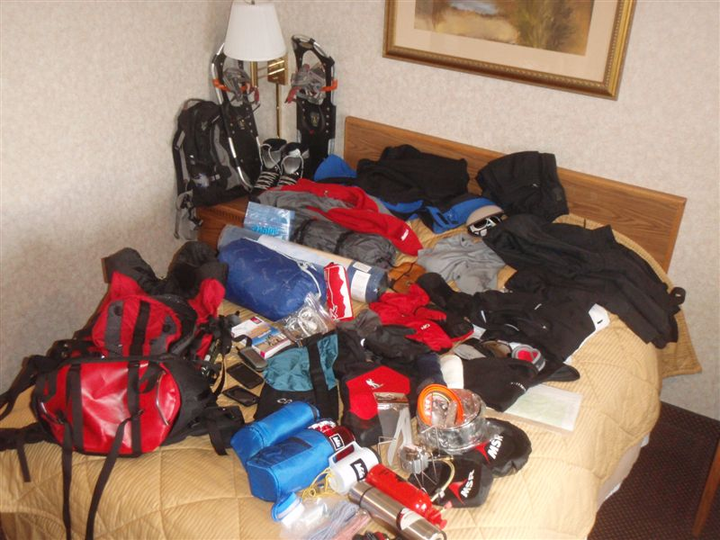 Winter Camping Gear prior to packing