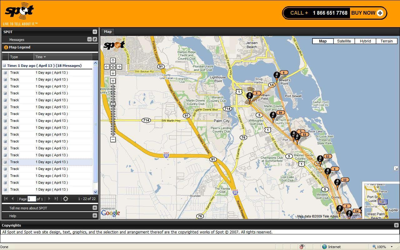 Sample screen shot of shared SPOT tracker website