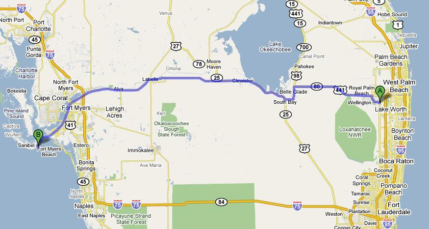 Google Map of route across Florida