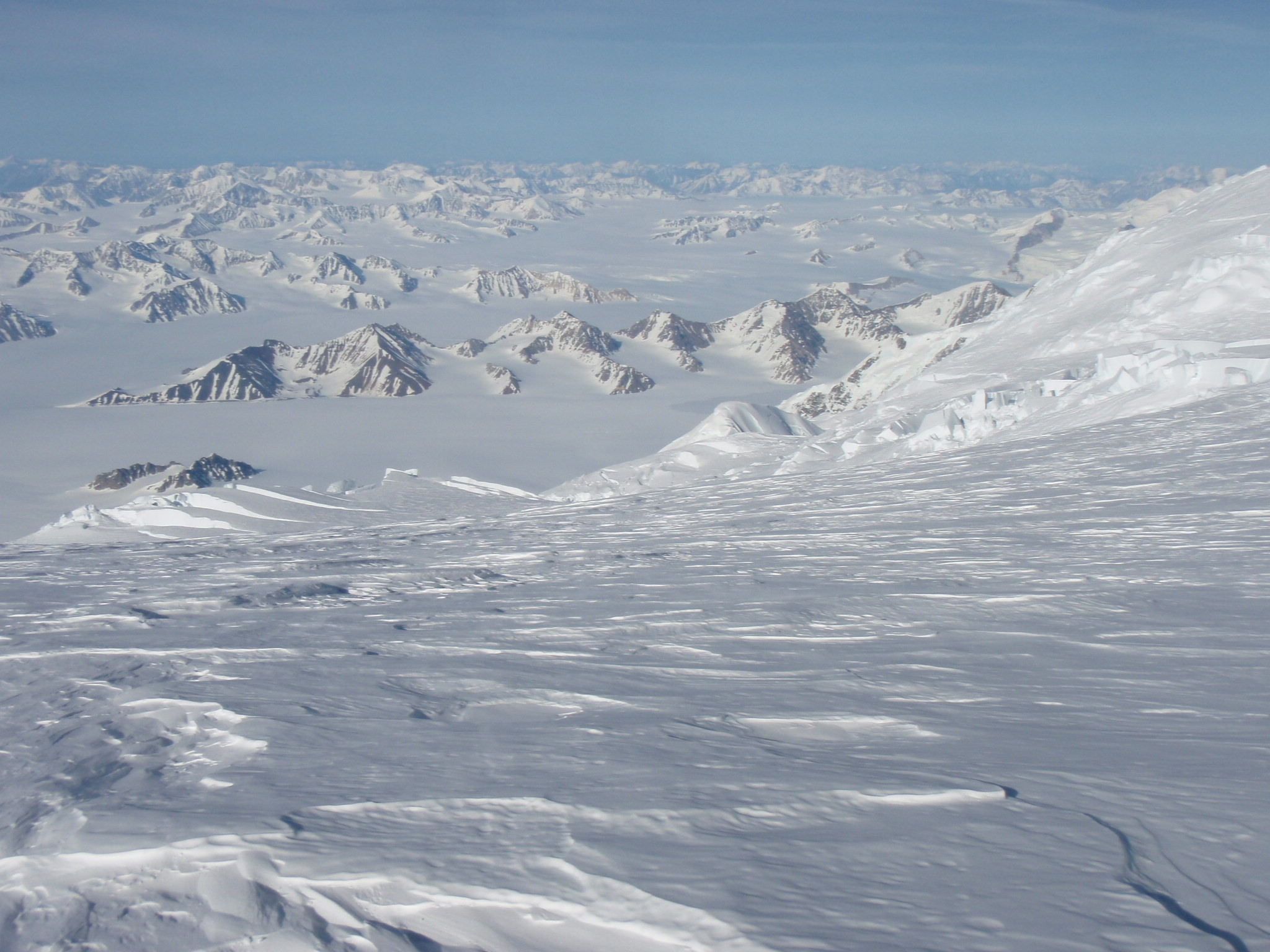 The Kluane Icefields from high up on Mount Logan