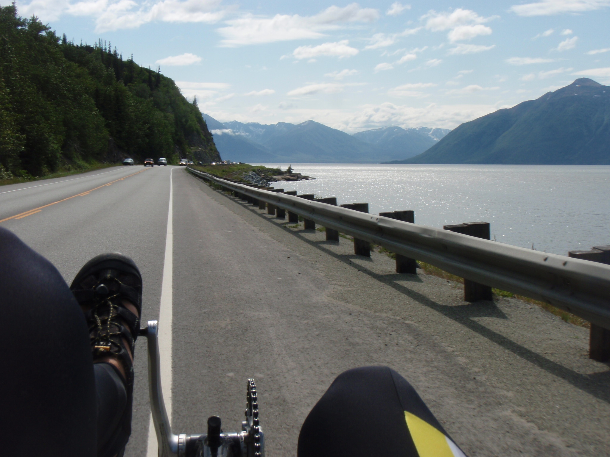 Riding along the Seward Highway South of Anchorage