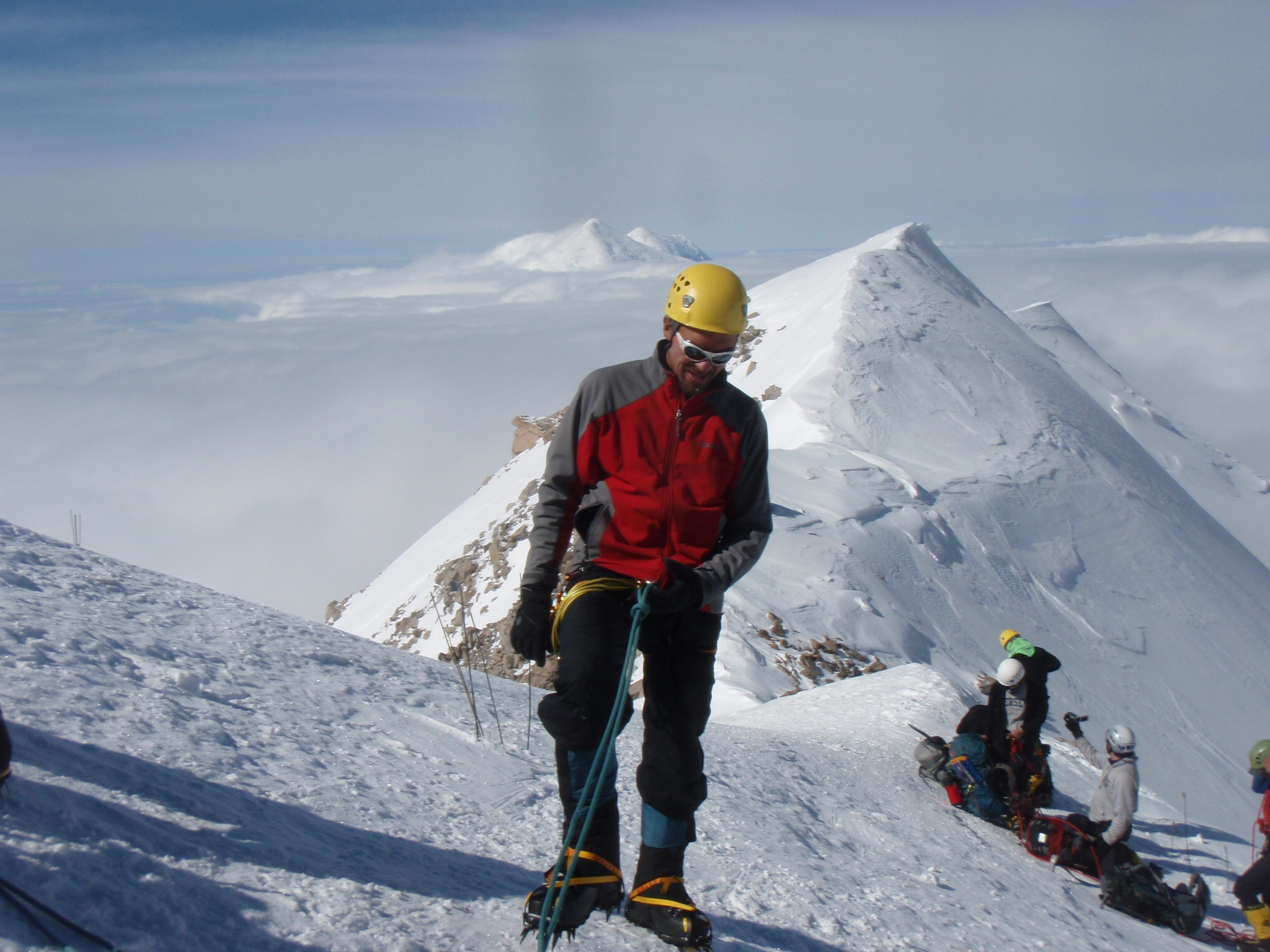 At Cache Above Fixed Ropes (4950m)