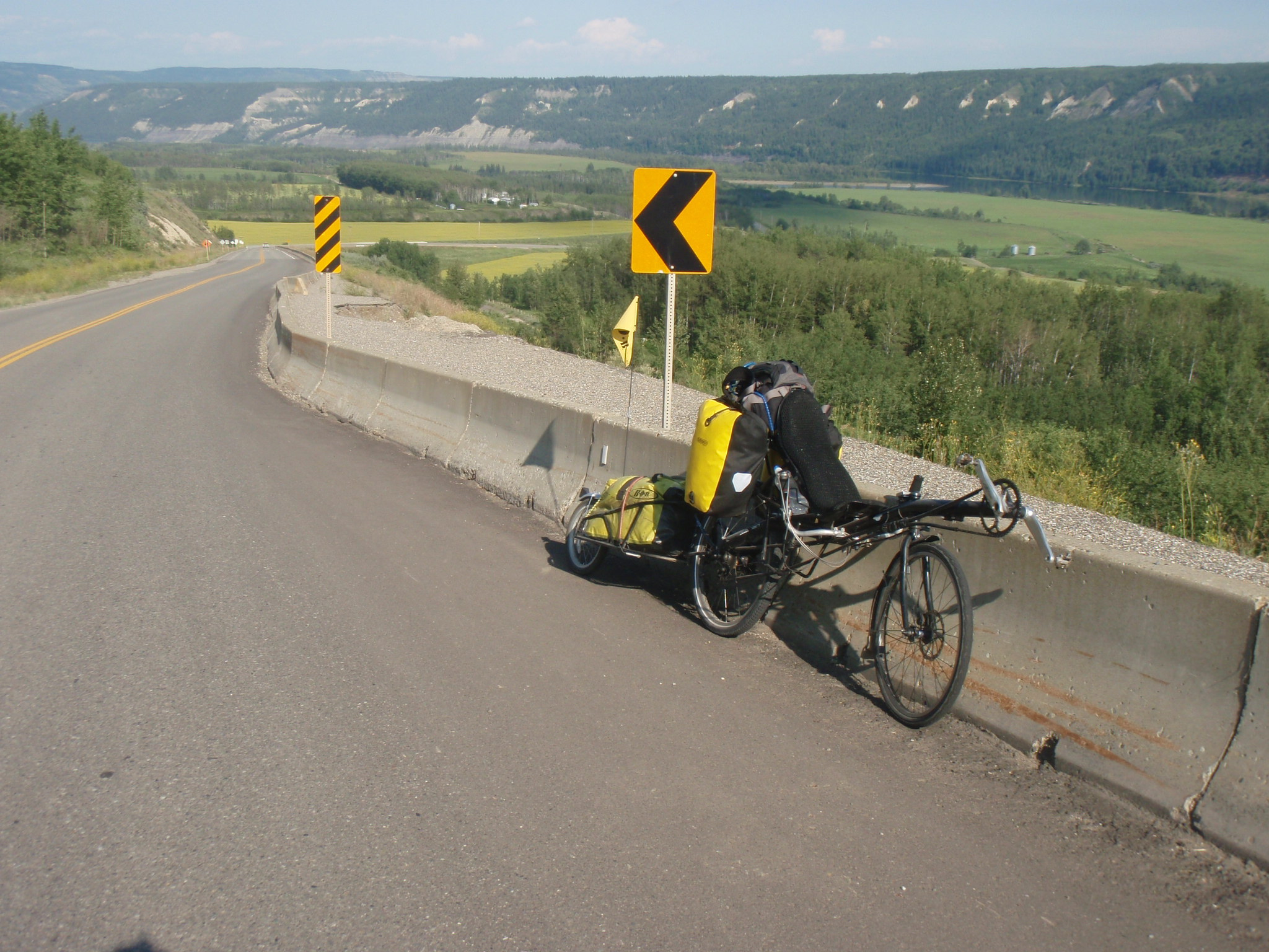Pushing up one of the many steep hills along the Peace River valley
