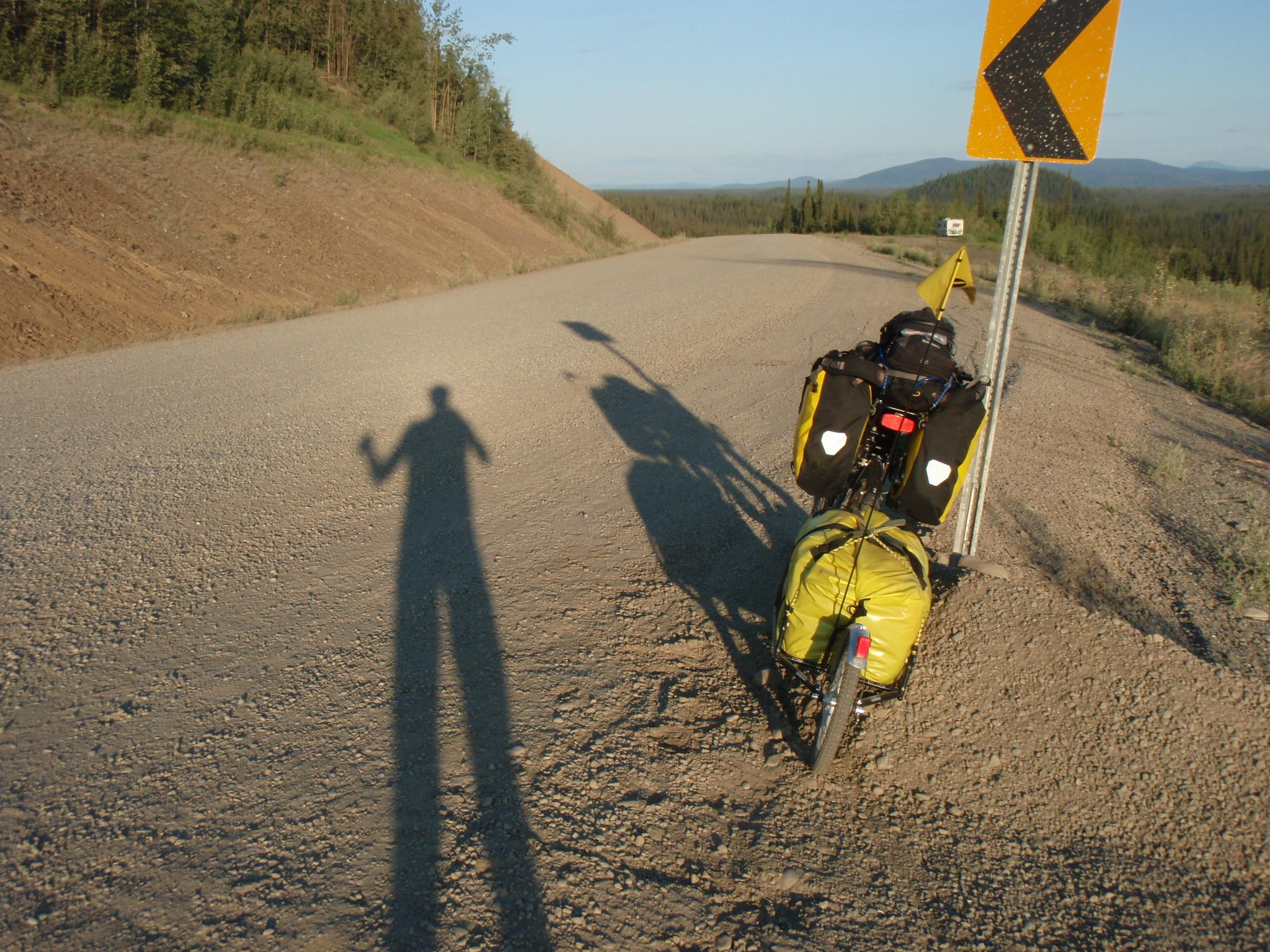 Long shadows in the evening entering Canada on the Alaska Highway