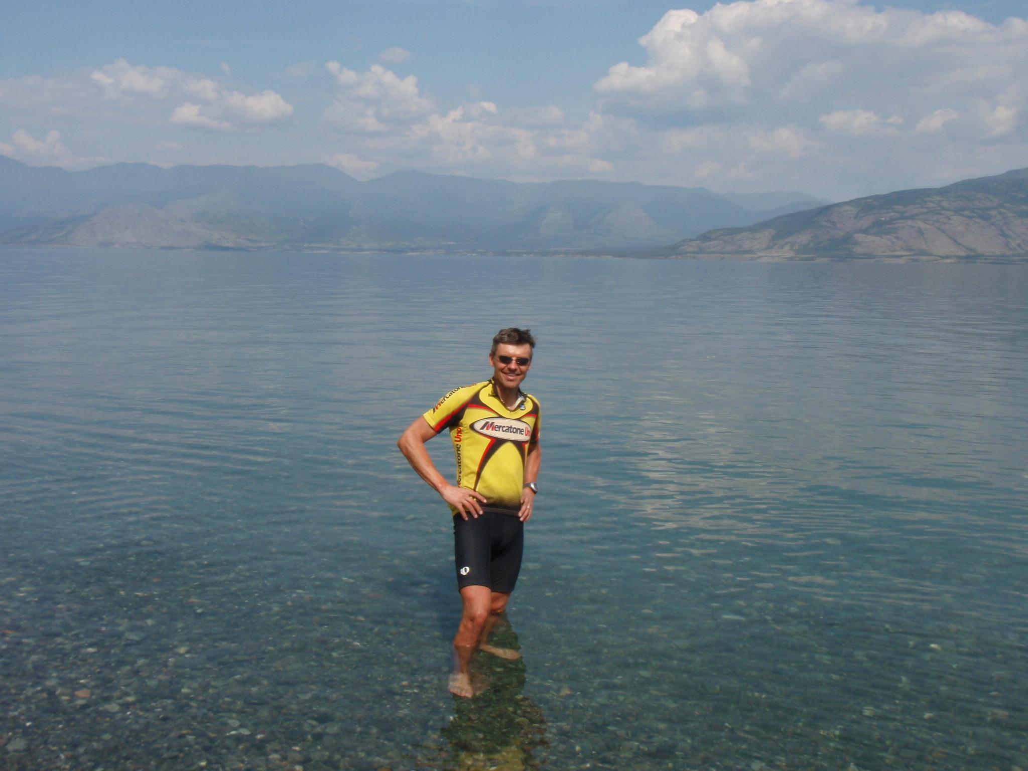Cooling my feet in Kluane Lake