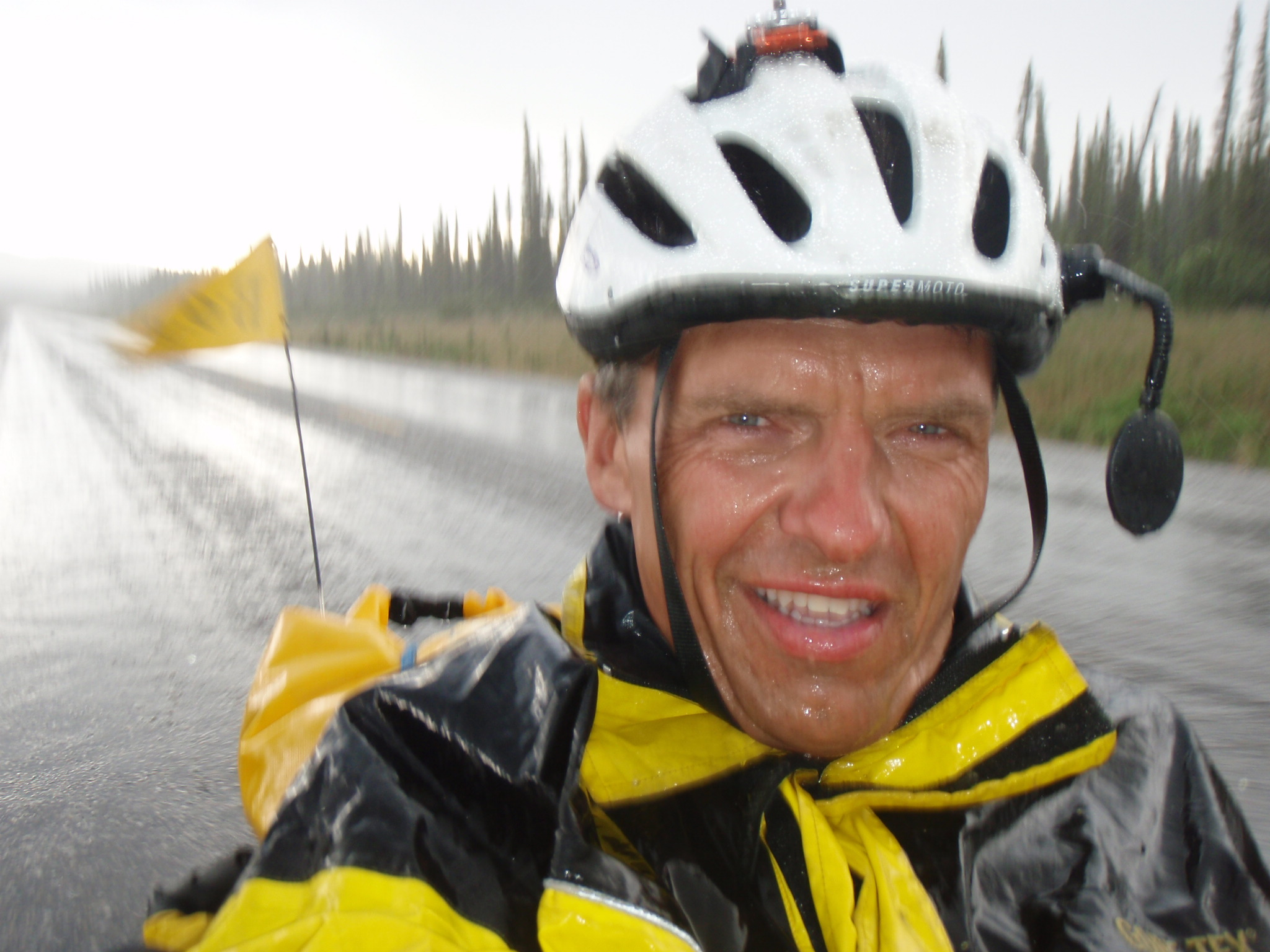 Hard rain in BC on the last 15km to Swift River