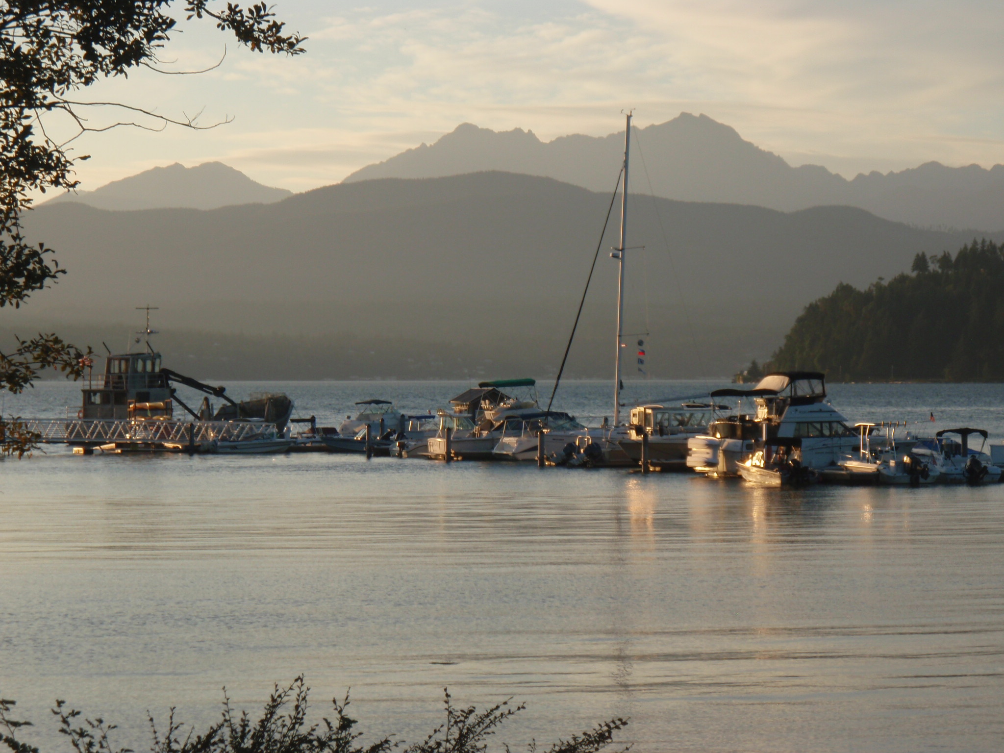Evening mood in Hood Canal with Olympic NP mountain range in background