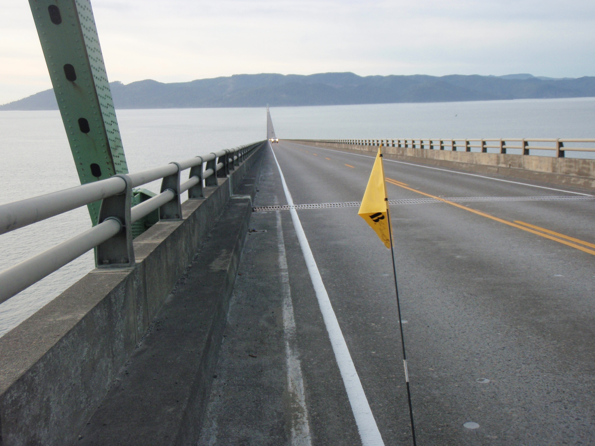 Riding across the 6.5km long Astoria Megler Bridge