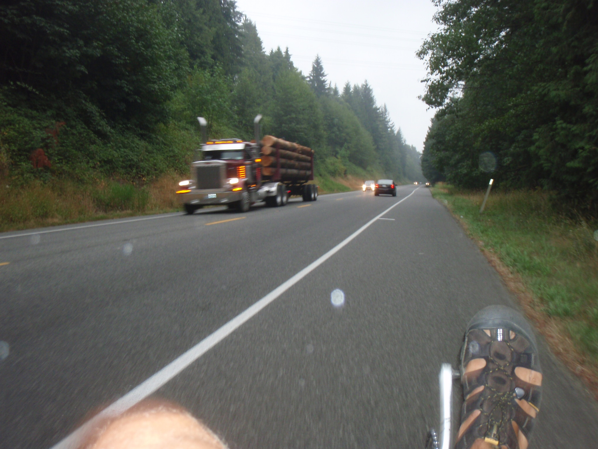 Cool start of riding day with light drizzle in Northern Washington