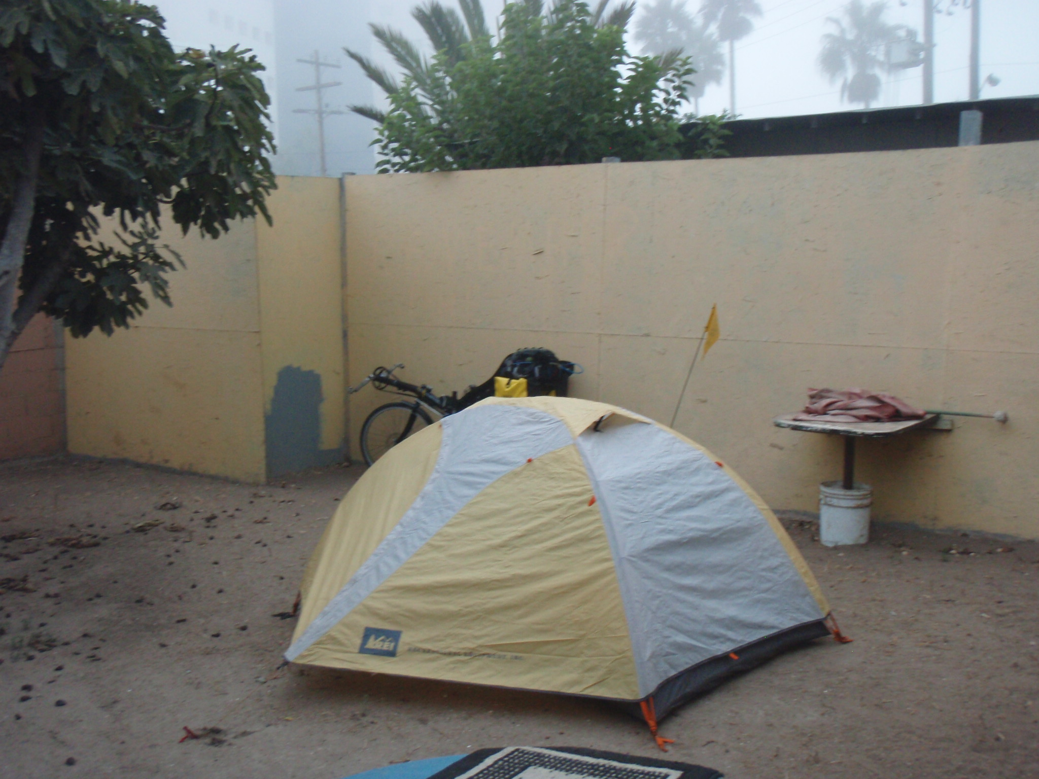 Camping at the hostel in Rosarito