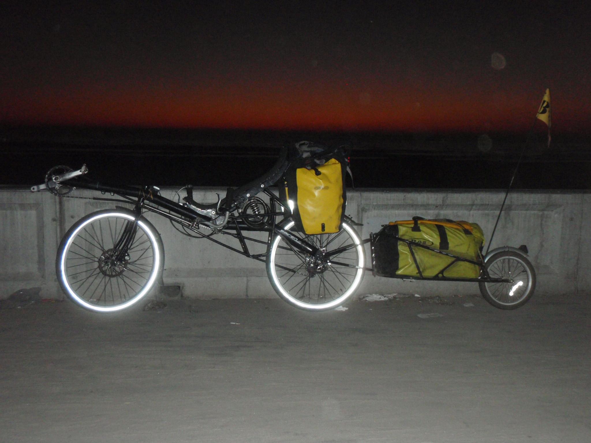 Bike at San Diego beach after dusk