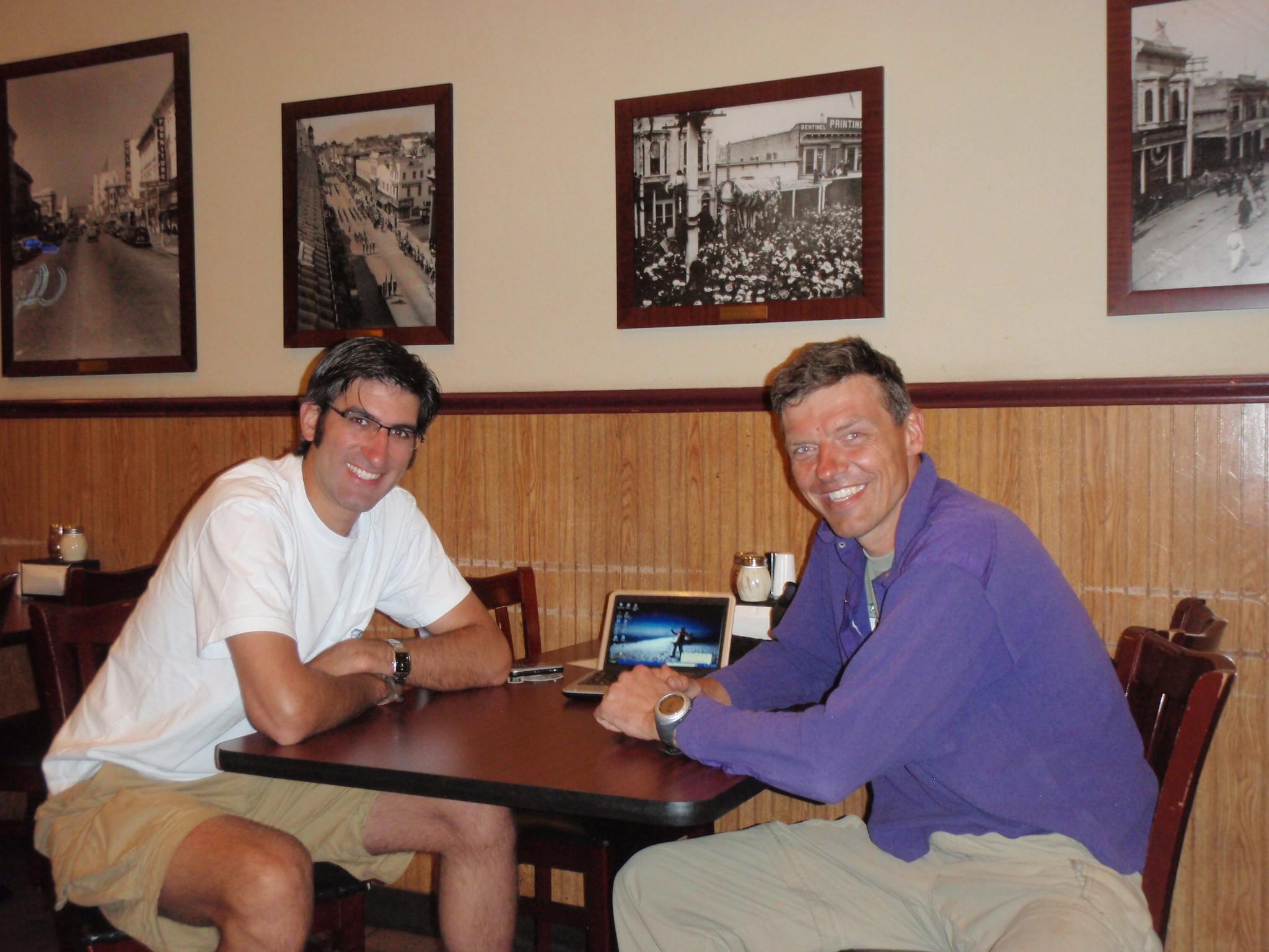 Lou and I over dinner in Santa Cruz