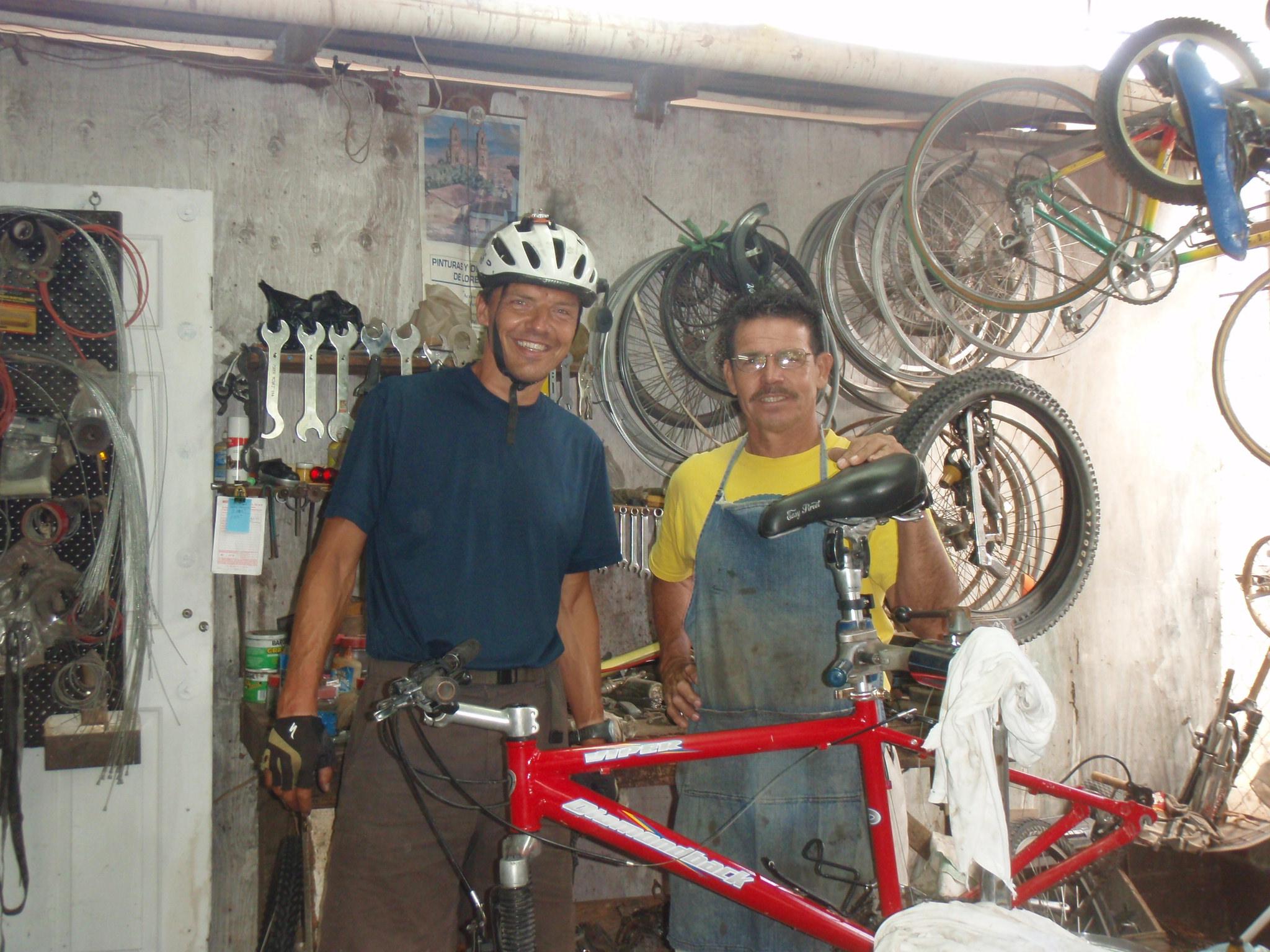 With owner Herman in Loreto bike shop
