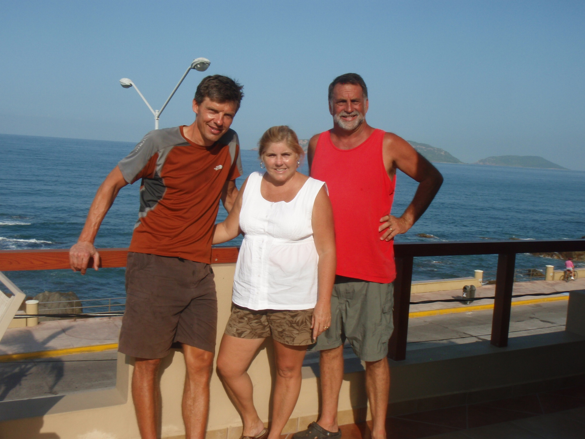 With Jim and Candace on the patio of their Mazatlan Ocean Front Inn