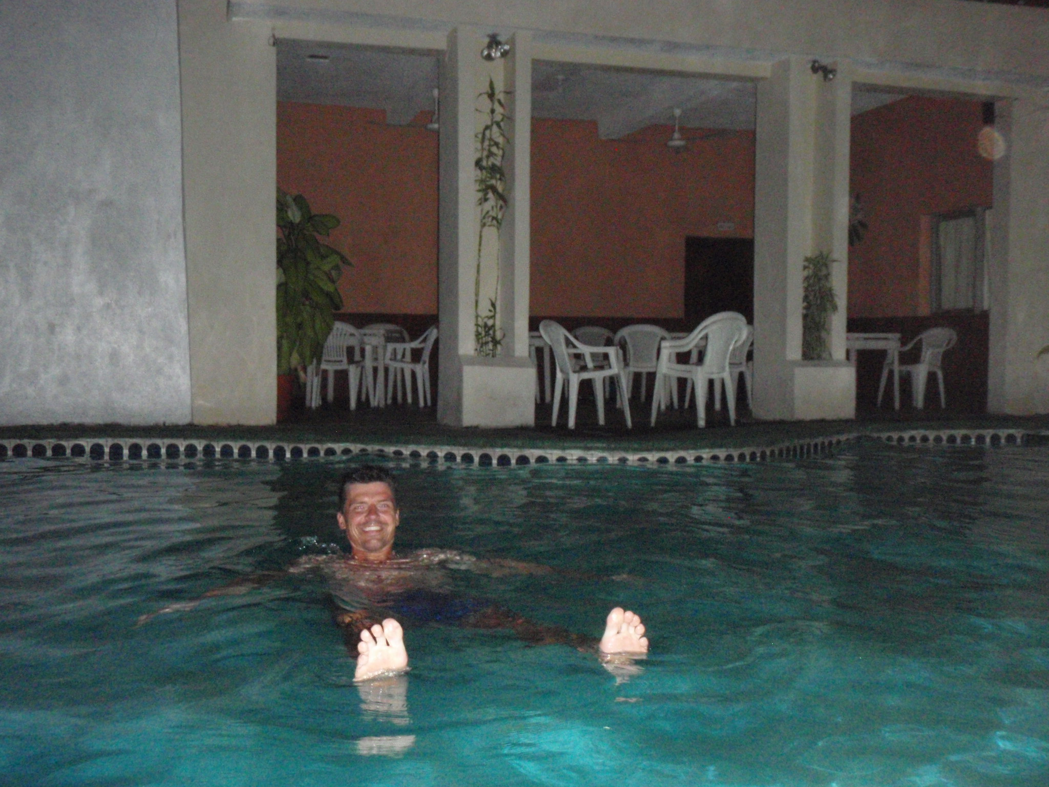 Cooling off in the hotel pool after a long, hot day on the bike