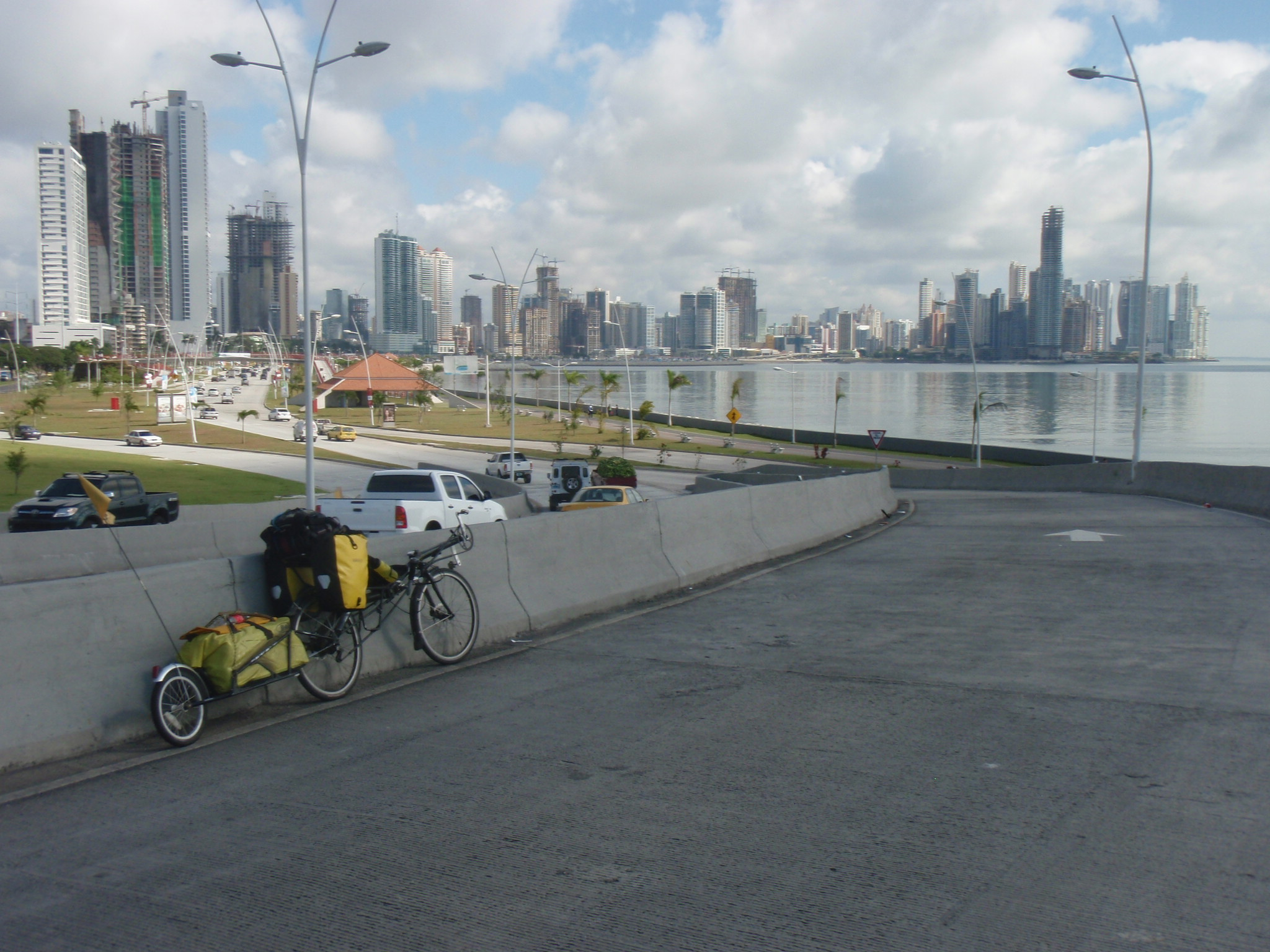 Arriving in Panama City with skyline along Avenida Balboa