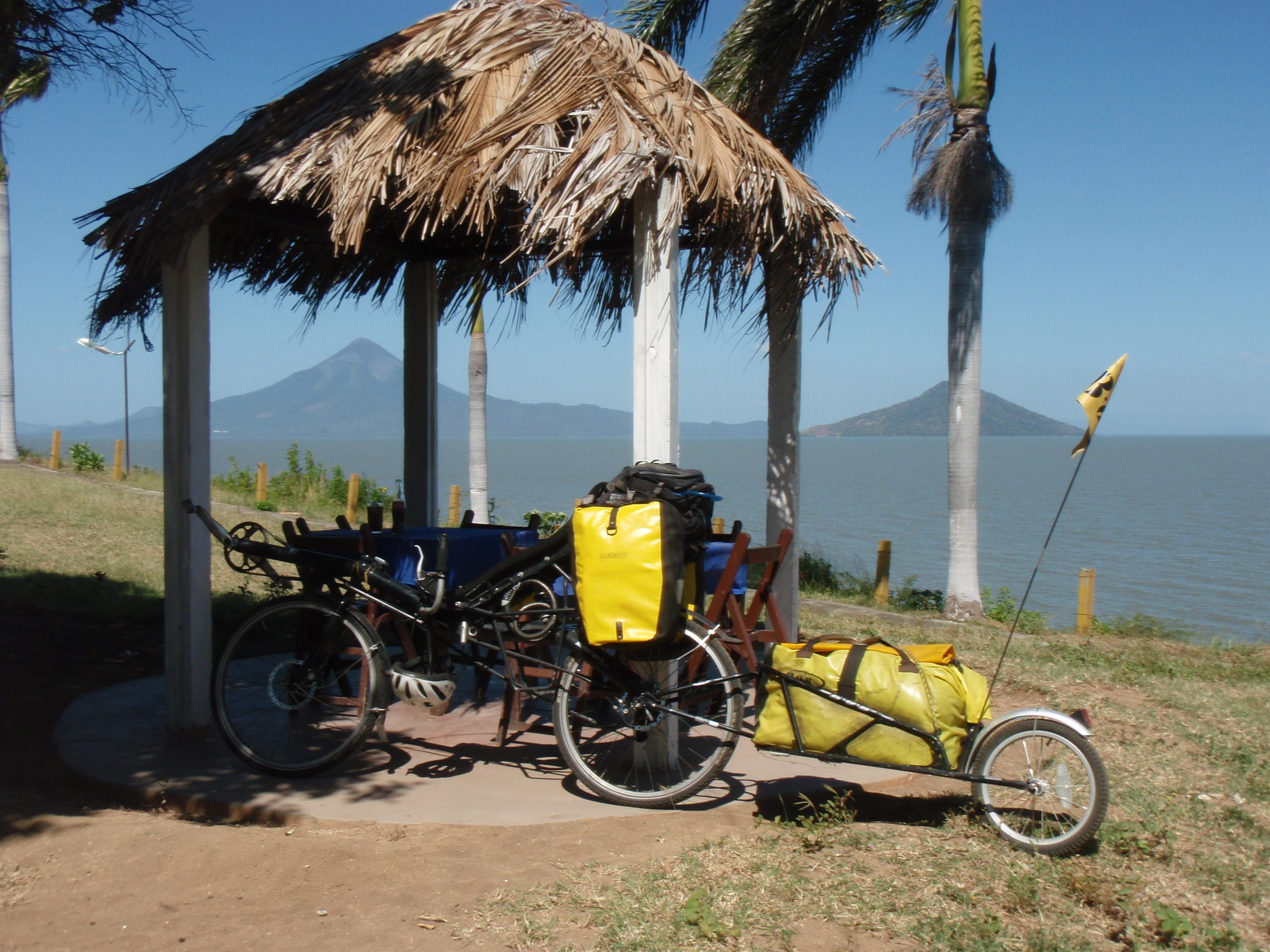 Refreshment stop on shores of Lago de Managua with volcanos