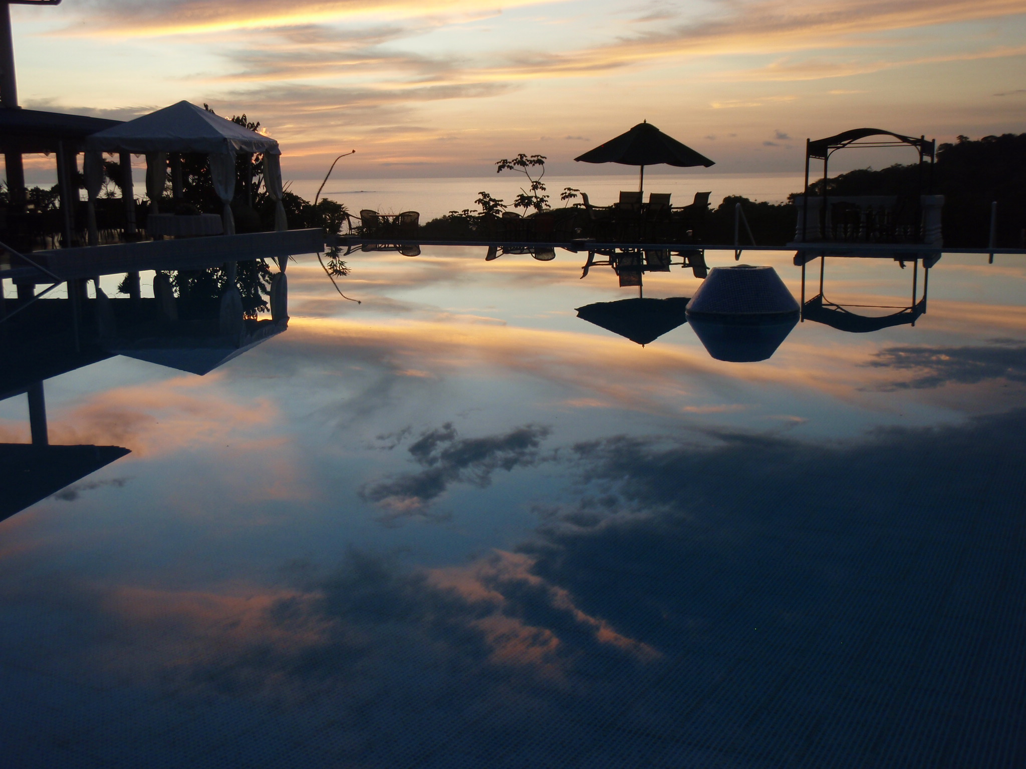 Pool after sunset at Cristal Ballena on evening of my Birthday