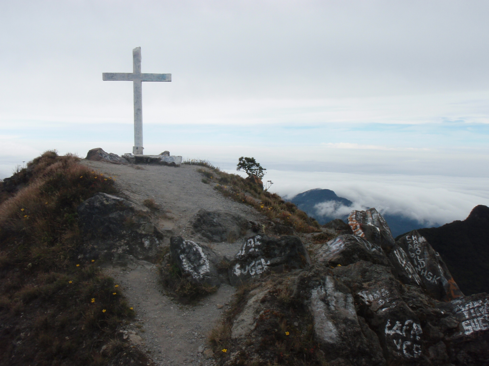 Cross on summit of Volcan Baru at 3474m