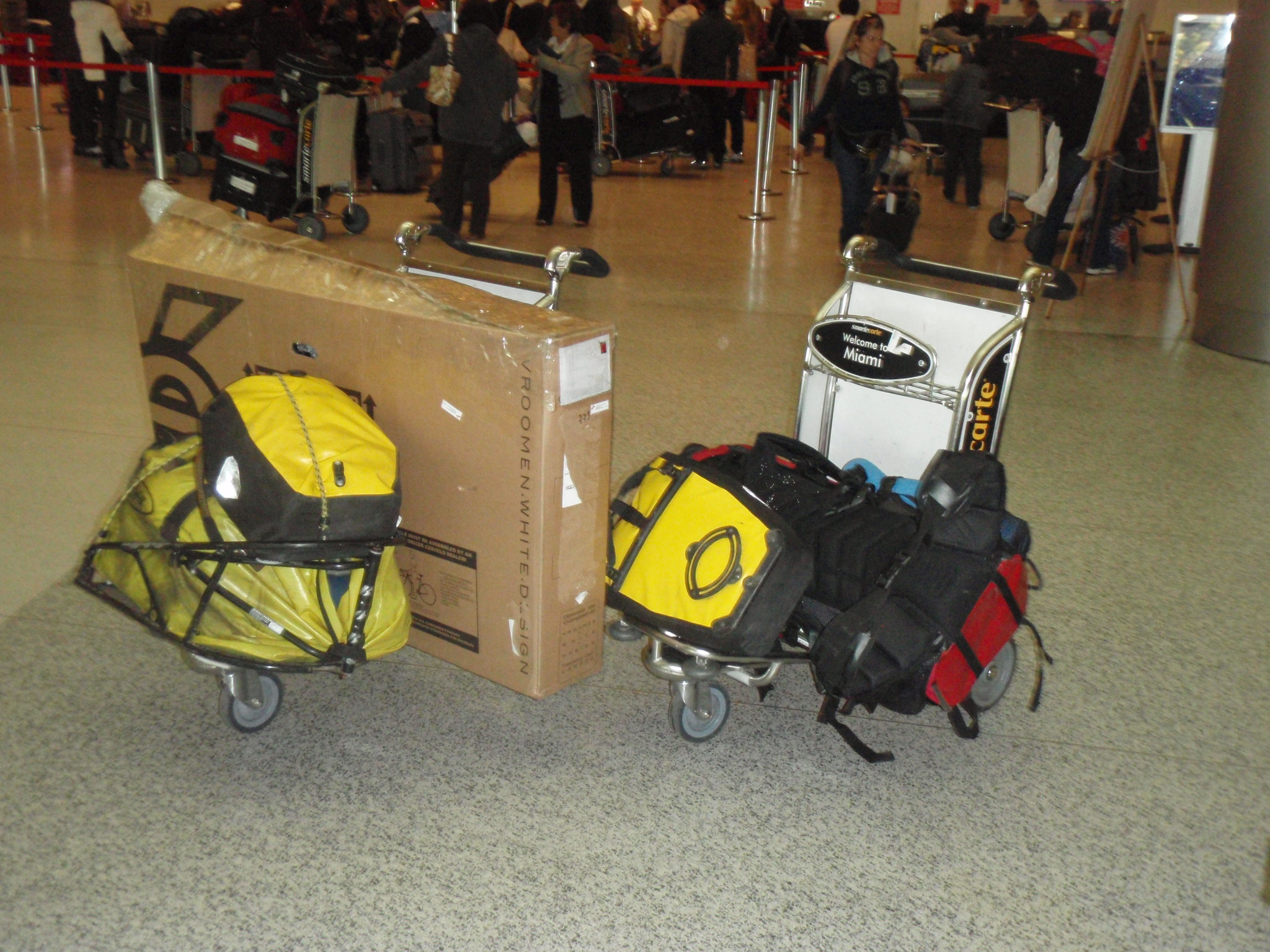 3 large bags checked in and two carry-on bags (total around 200 pounds)