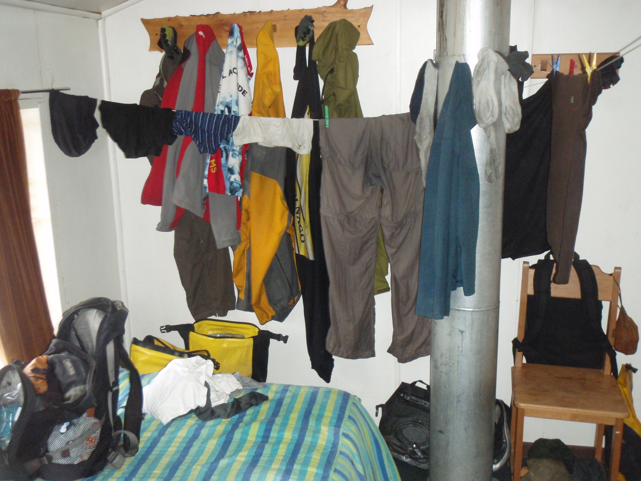 Hanging up cloths to dry - wet during the day, drying up over night, repeat