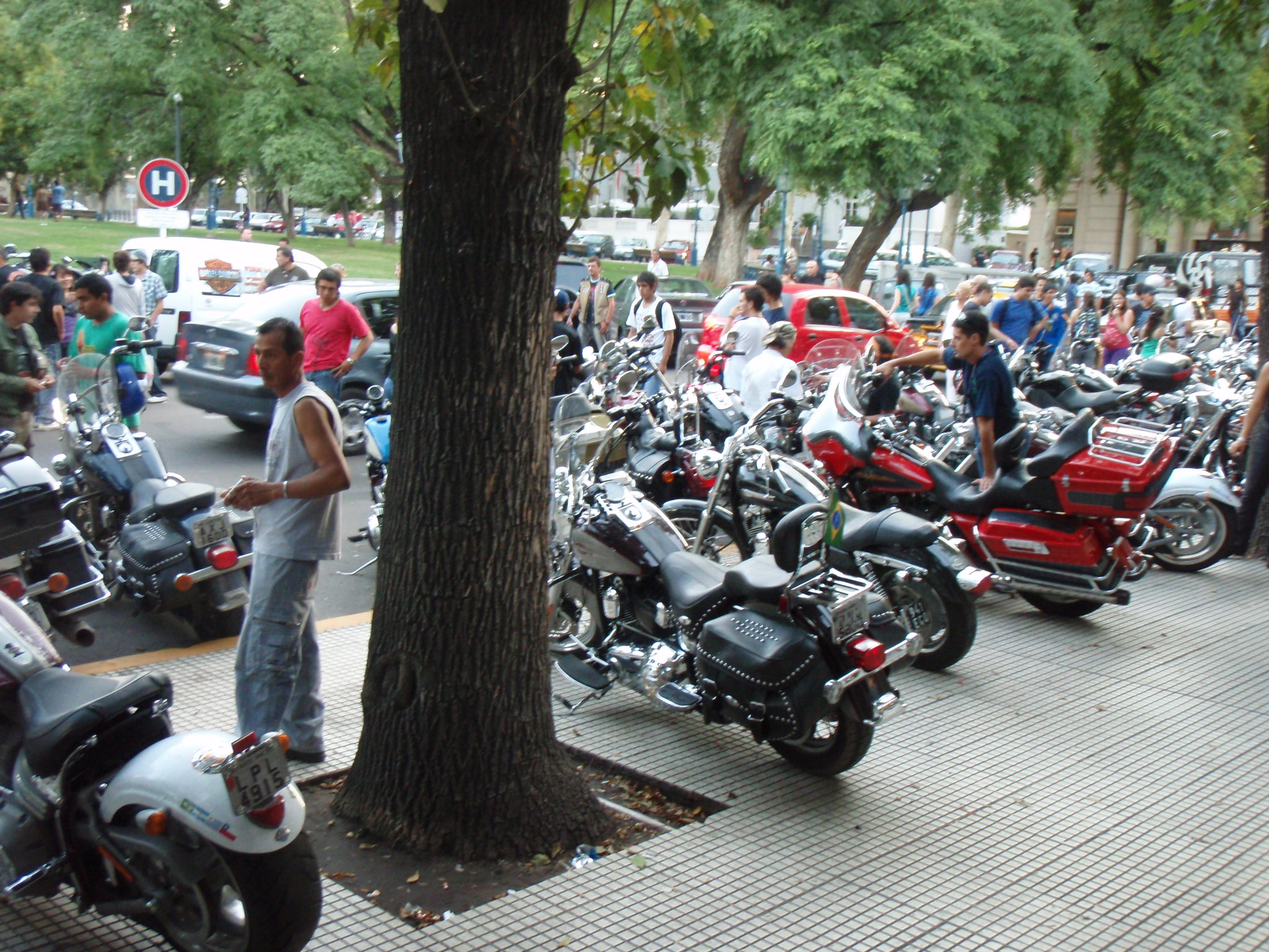 Harley Davidson meeting in center of Mendoza right outside of Hotel Argentino