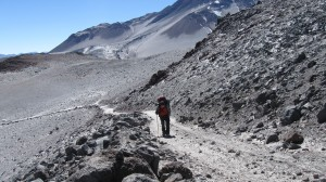 Hiking up the jeep trail at 5400m to Refugio Tejos