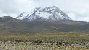 Nevado Sajama from the South-East during approach to Sajama village
