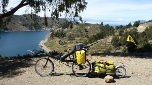 Riding above Lake Titicaca near Tiquina on the way to Copacabana
