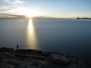 Sunset over Lake Titicaca from Calvario above Copacabana, Bolivia