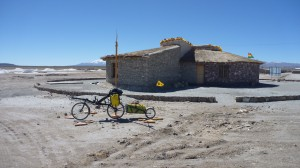 Last building near Colchani cycling out onto the Salar