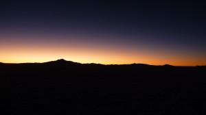 Brilliant display of colors after sunset on the Salar de Uyuni