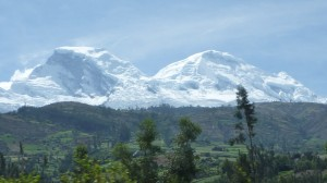 Huascaran as seen from near Yungay - main summit Sur on the right, Norte on the left