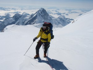 High above King Col near 5000m on Mount Logan, with King Peak behind and the Kluance Icefields in the background