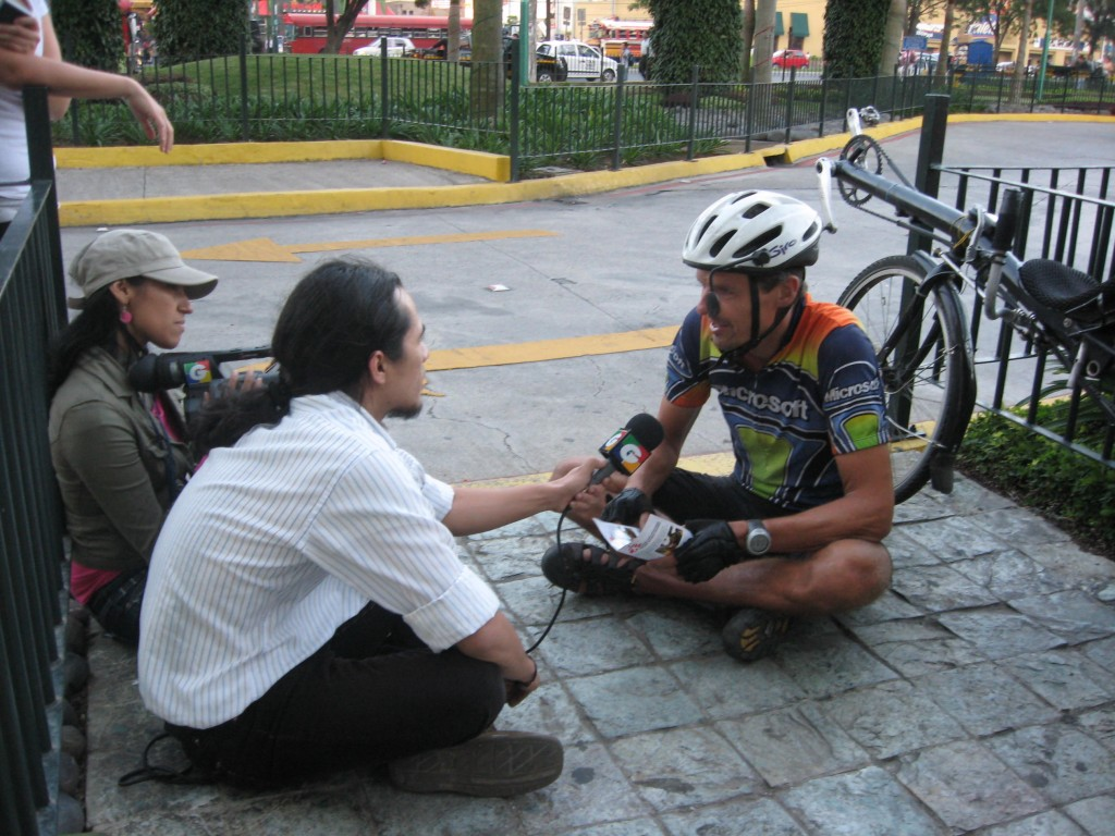 Being interviewed by a local TV station upon arrival in Guatemala City, Nov-2009
