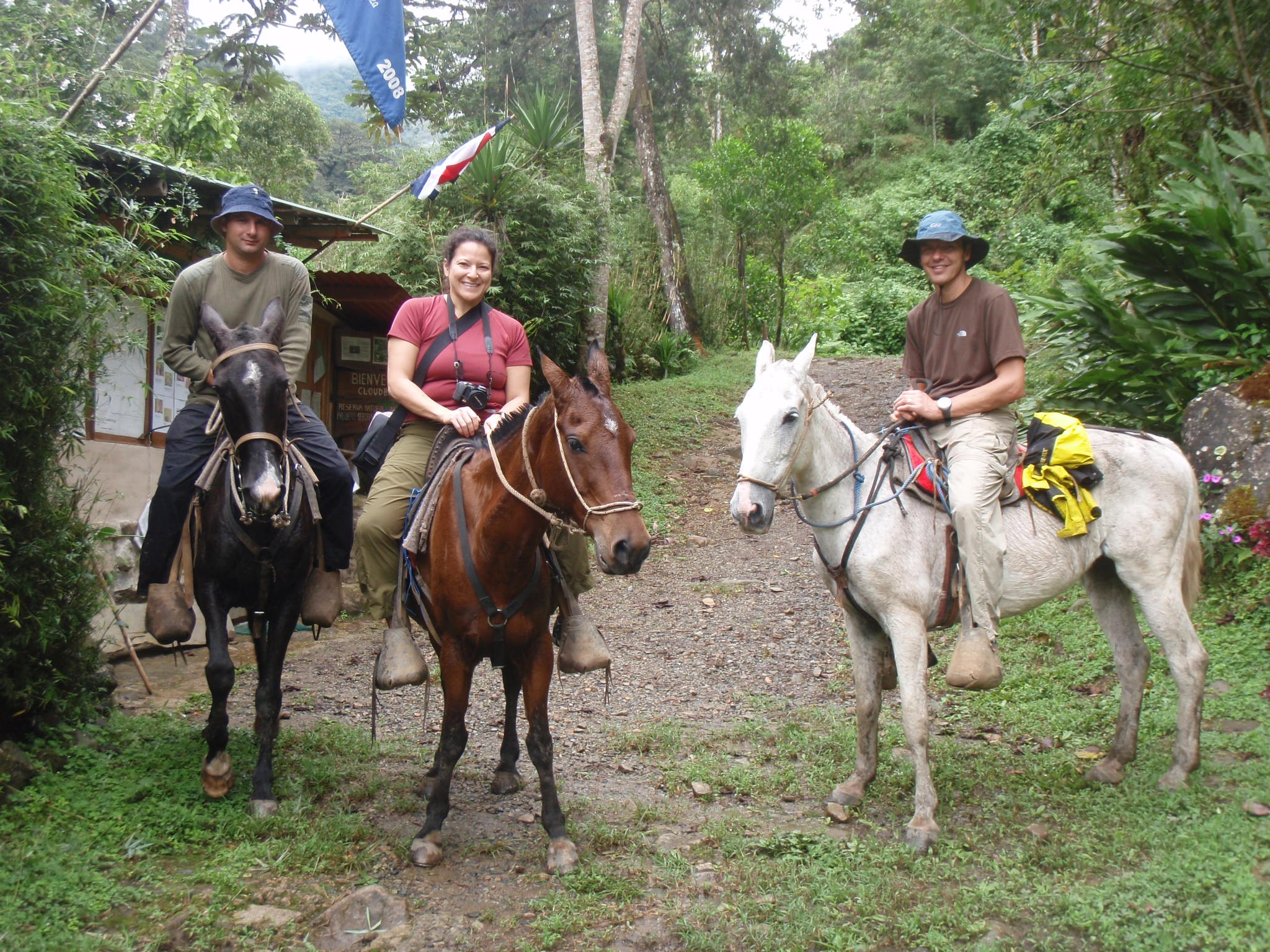 Jill and I with guide Oscar during horseback ride to waterfall in Costa Rica