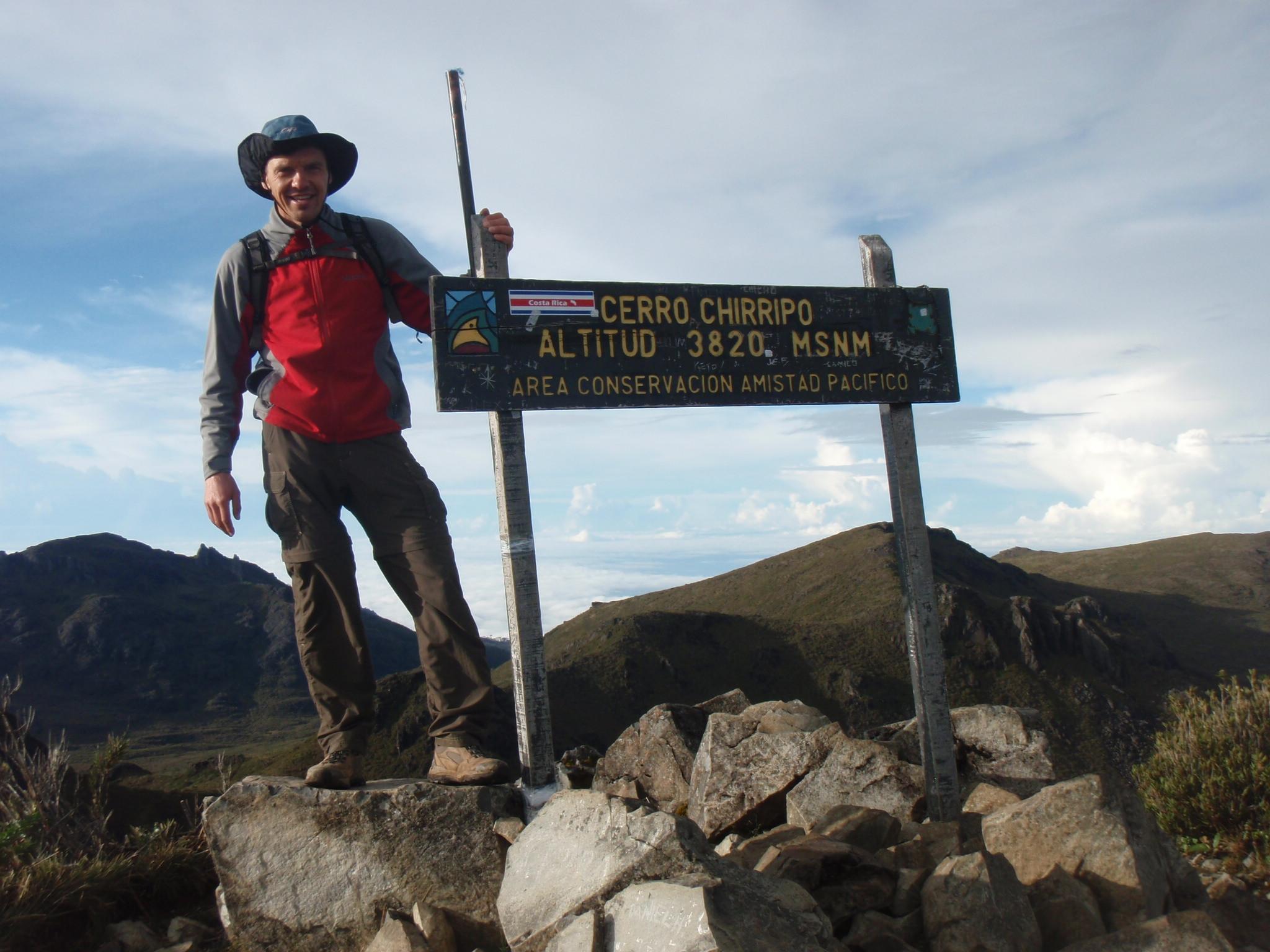 On the summit of Cerro Chirripo, highest point in Costa Rica