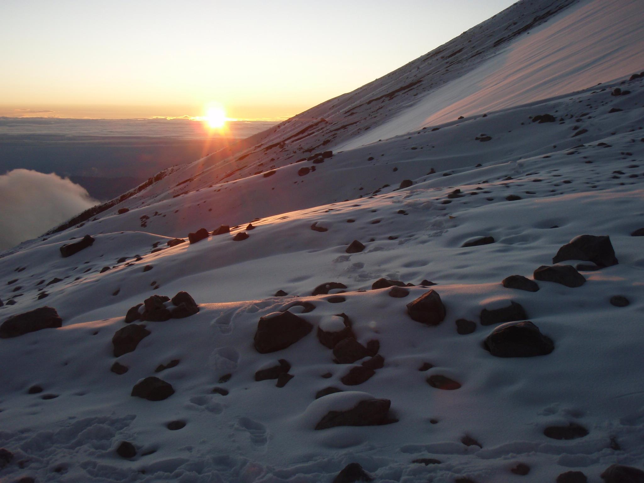 Sunrise around 6:30am from beginning of Jamapa glacier